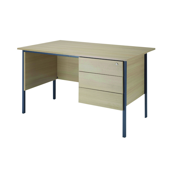 Jemini Intro Warm Maple 1200mm 4 Leg Desk With 3 Drawer Pedestal KF838535