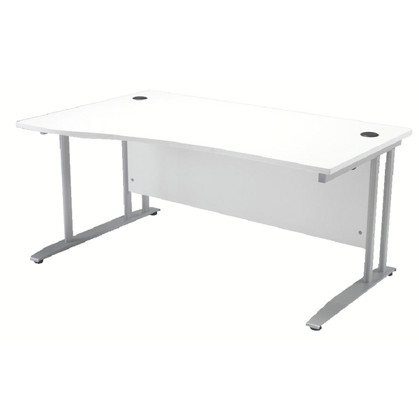 Arista White 1600mm Left Hand Wave Desk KF838682