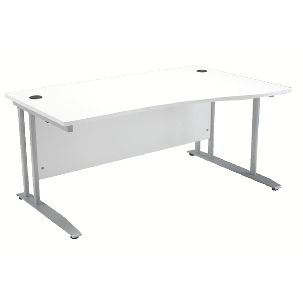 Arista White 1600mm Right Hand Wave Desk KF838683