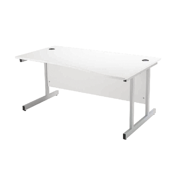Jemini White 1600mm Right Hand Wave Workstation KF838696