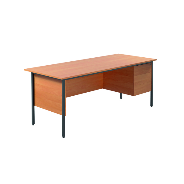 Jemini Intro Bavarian Beech 4 Leg Desk 1800mm With 3 Drawer Pedestal KF838805