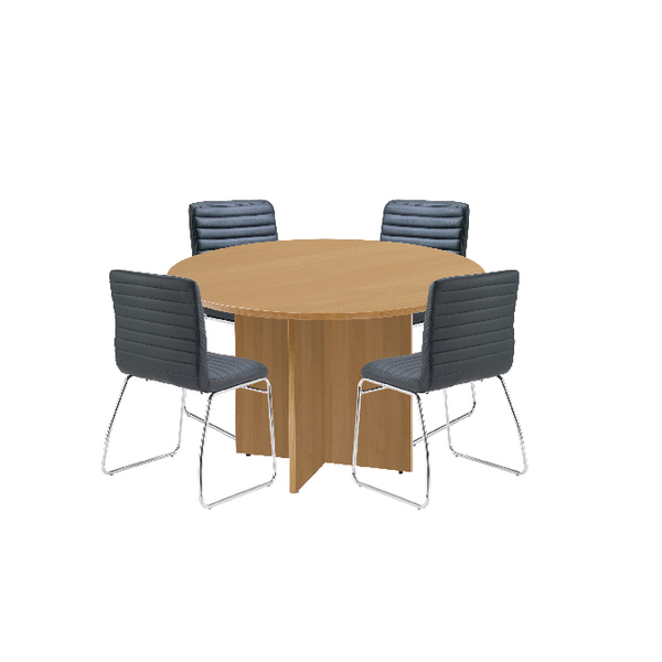 First Oak 1200mm Diameter Round Meeting Table with Dart Meeting Chairs KF839234
