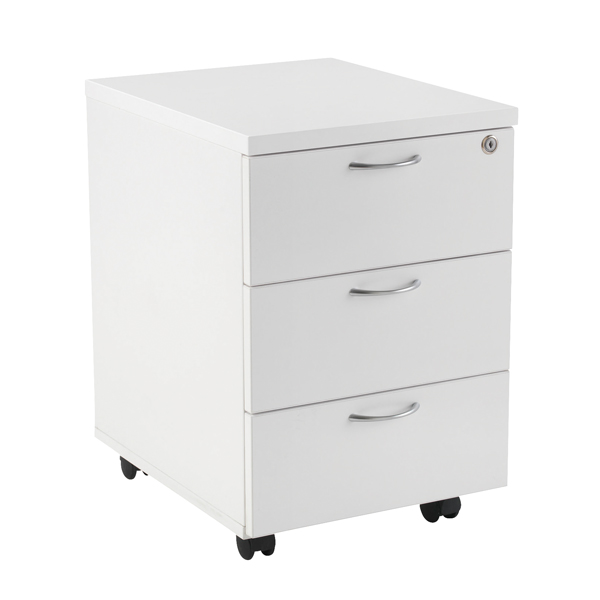 First Mobile Under Desk Pedestal 3 Drawer White KF98510