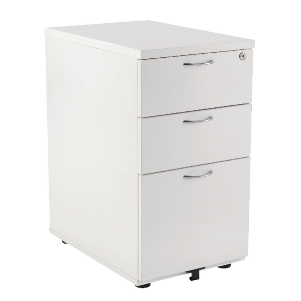 First Desk High Pedestal 3 Drawer 800mm Deep White KF98512