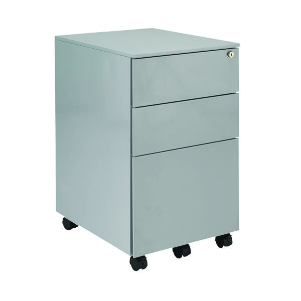 First Steel Under Desk Pedestal 3 Drawer Silver KF98513