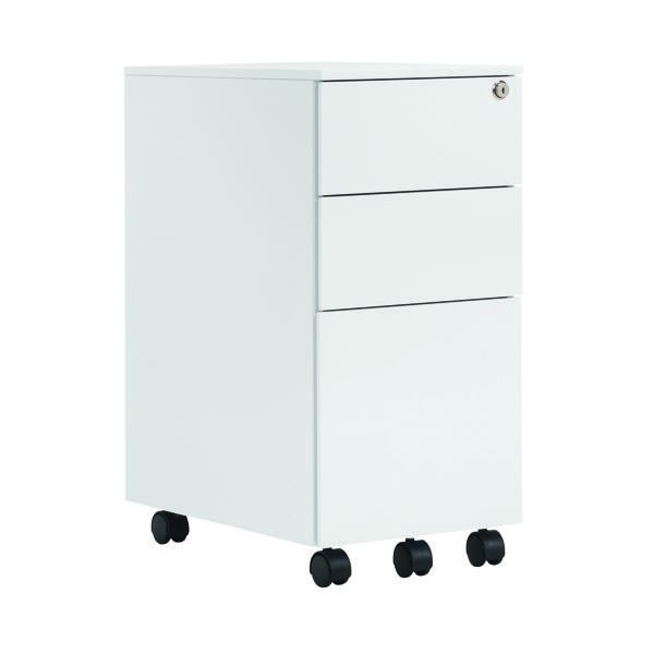 First Steel Slimline Under Desk Pedestal 3 Drawer White KF98516