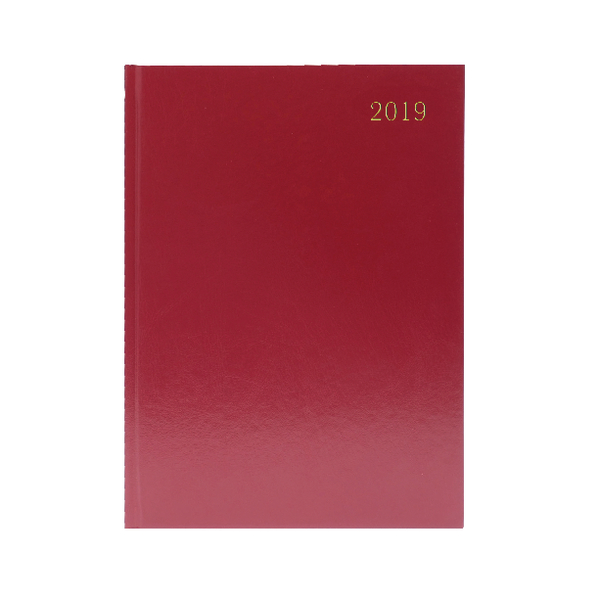A5 Desk 2 Days Per Page 2019 Burgundy Diary KFA52BG19