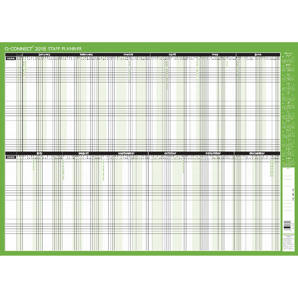 Q-Connect Staff Planner Unmounted 855x610mm 2018 Planner KFSPU18