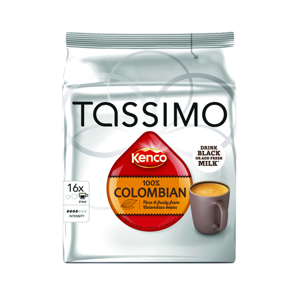 Tassimo Kenco 100% Columbian Coffee 136g Capsules (5 Packs of 16) 712864