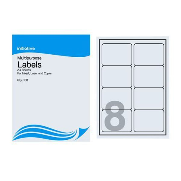 Initiative Multipurpose Labels 99.1 x 67.7mm 8 Labels Per Sheet Pack 500