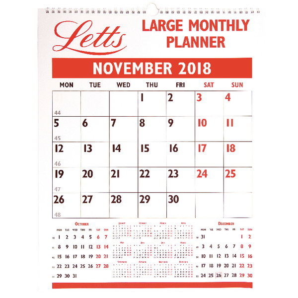Letts Large Monthly 2018 Planner 18-TLMP