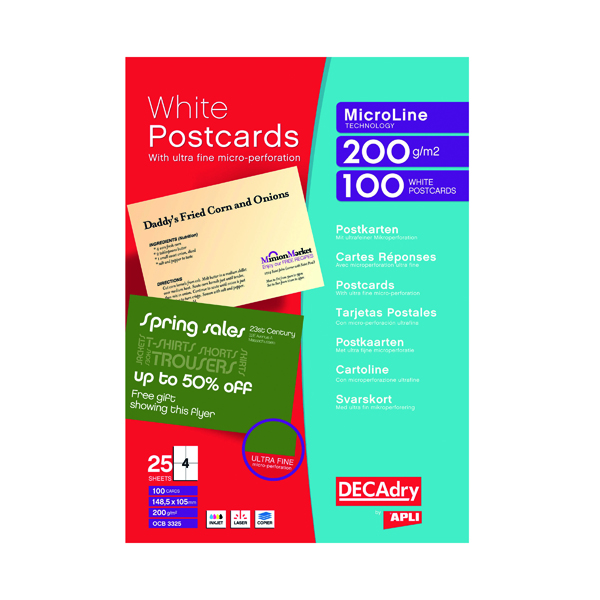 Decadry Postcards A4 Micro-perforated Sheet White (100 Pack) OCB3325