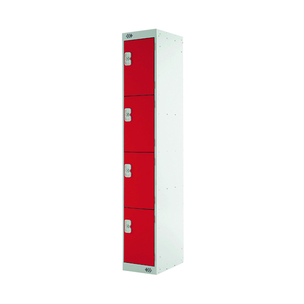 Express Standard Locker Four Compartments Red 450mm Deep MC00162