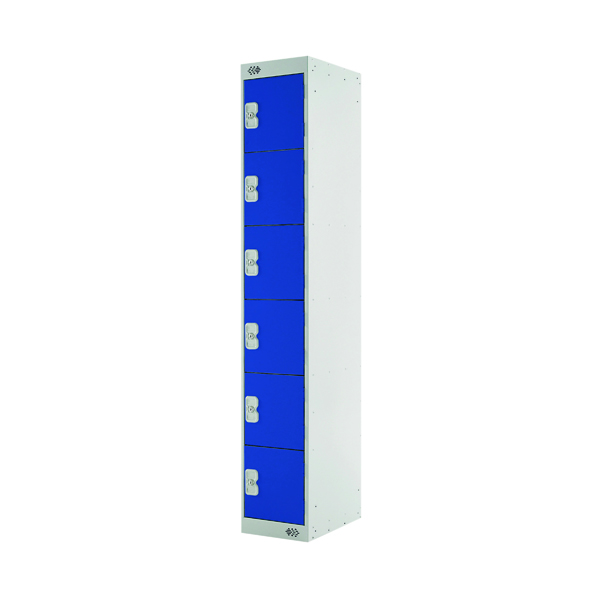 Express Standard Locker 6 Door W300xD450xH1800mm Light Grey/Blue MC00163