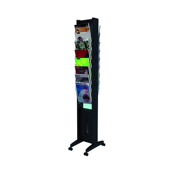 Fast Paper Black Double-Sided 16 Compartment Literature Display F276N01
