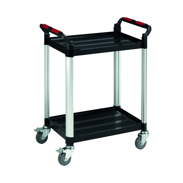 Barton Black and Silver 2 Shelf Standard Plastic Trolley WHTT2SS