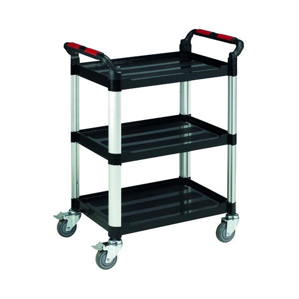 Barton Black and Silver 3 Shelf Standard Plastic Trolley WHTT3SS