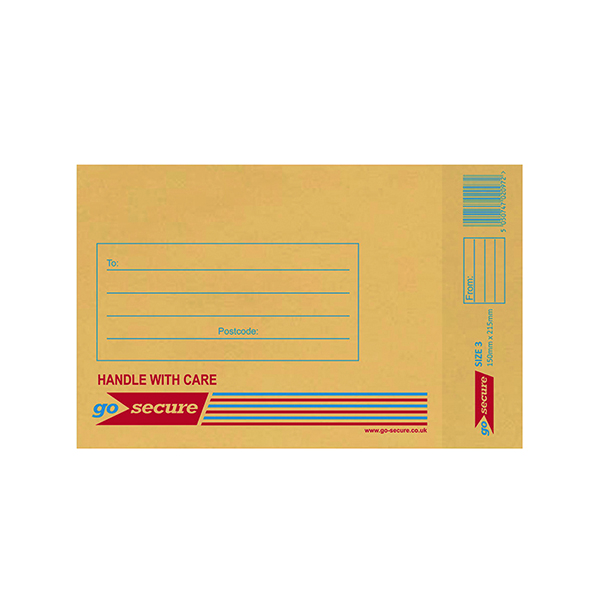 GoSecure Size 3 150 x 215mm Brown Bubble Lined Envelopes (100 Pack) ML10042