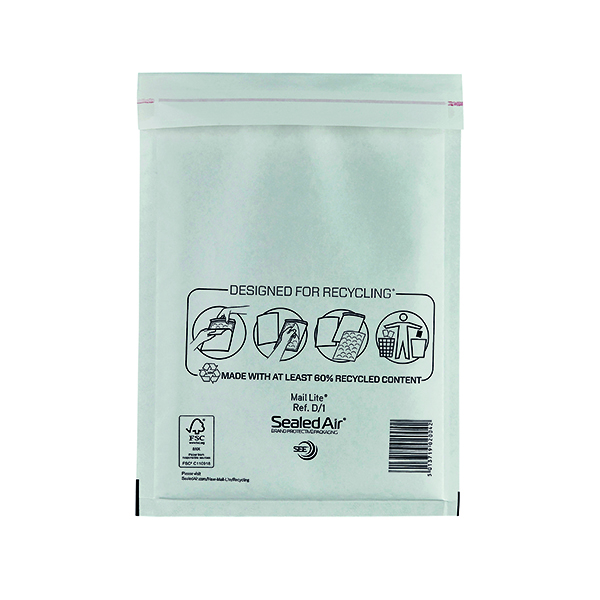 Mail Lite Size D/1 180 x 260mm White Bubble Lined Postal Bag (100 Pack) MLW D/1