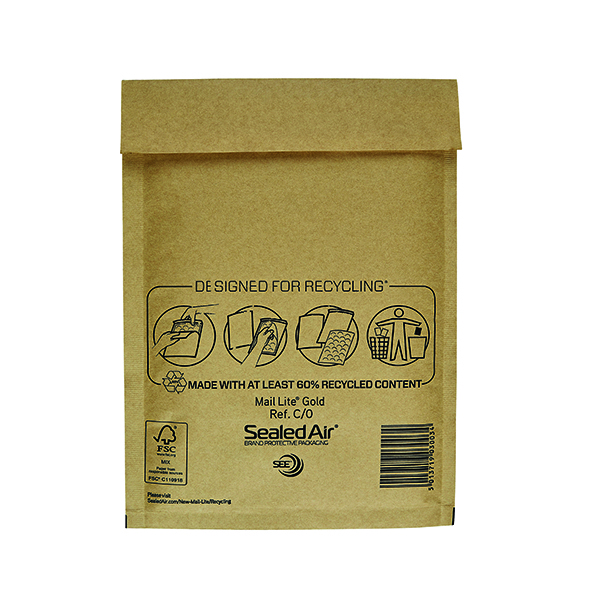 Mail Lite Size C/0 150 x 210mm Gold Bubble Lined Postal Bag (100 Pack) MLGC/0