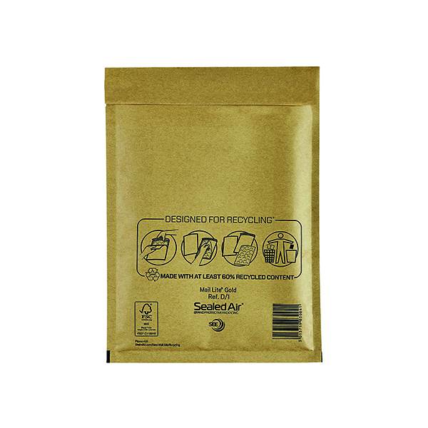 Mail Lite Size D/1 180 x 260mm Gold Bubble Lined Postal Bag (100 Pack) MLGD/1
