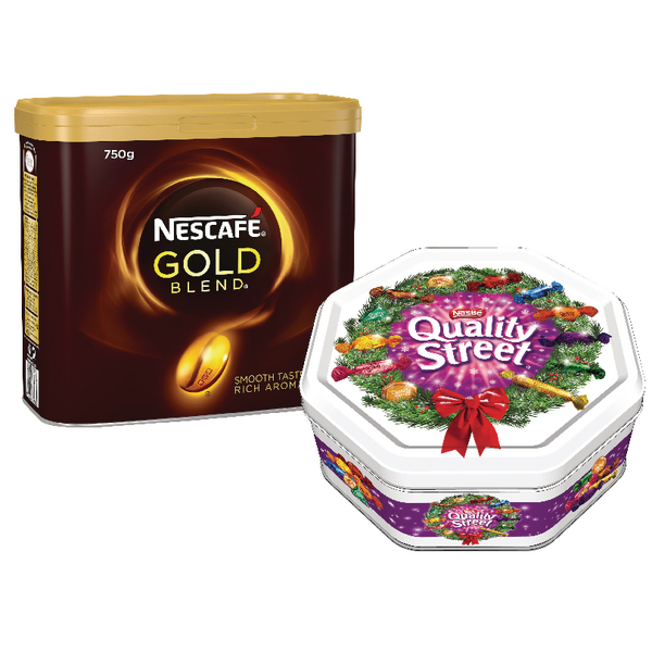 Nescafe Gold Blend 750g (2 Pack) with FOC Quality Streets 1.3kg Tin NL819827