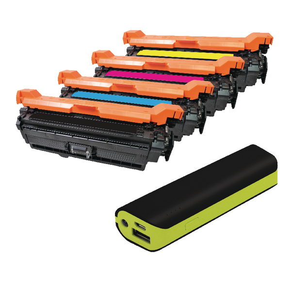 Q-Connect HP Color Laserjet CP3525 toner FOC Reviva 2000mAH Powerbank OB833014