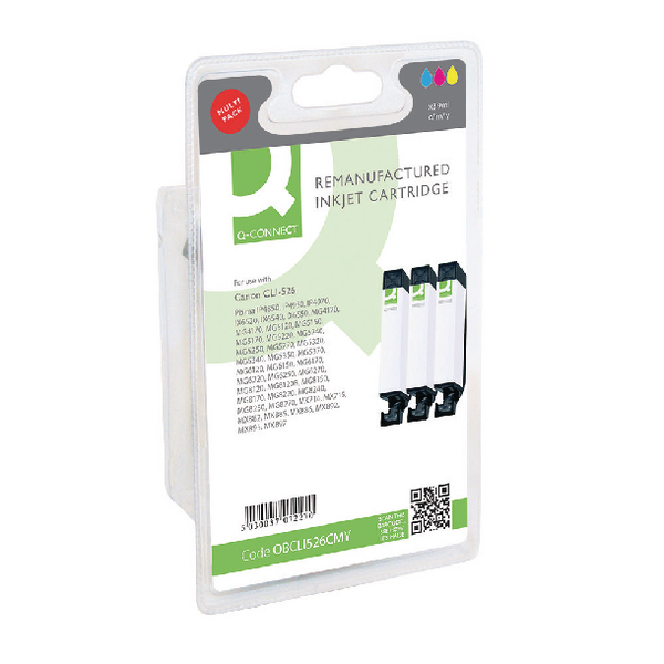 Q-Connect Canon CLI-526 Ink Cartridge Multipack CMY (3 Pack) 4541B009AA-COMP