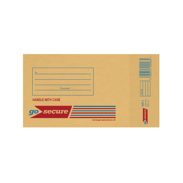 GoSecure Bubble Lined Envelope Size 1 100x165mm Gold (20 Pack) PB02150