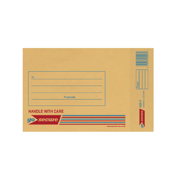 GoSecure Bubble Lined Envelope Size 3 150x215mm Gold (20 Pack) PB02151