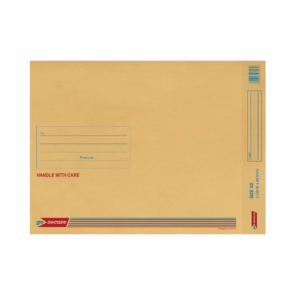 GoSecure Bubble Lined Envelope Size 10 350x470mm Gold (20 Pack) PB02157