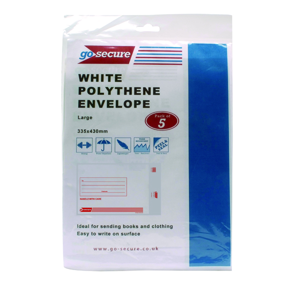 Go Secure Extra Strong Polythene Envelopes 345x430mm (50 Pack) PB08229