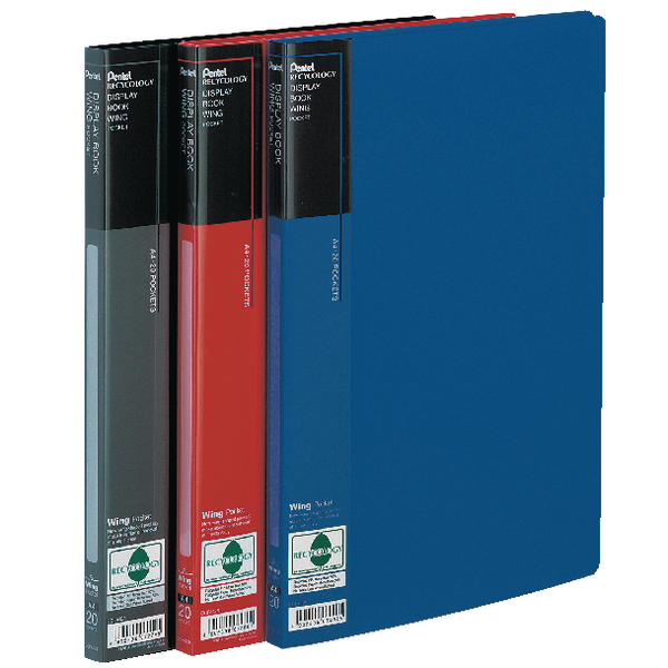 Pentel Recycology Wing A4 20 Pocket Black Display Book (10 Pack) DCF442A
