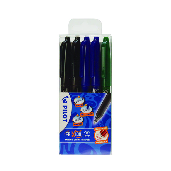 Pilot FriXion Ball Erasable Rollerball Pen Fine Assorted (5 Pack) 224300530