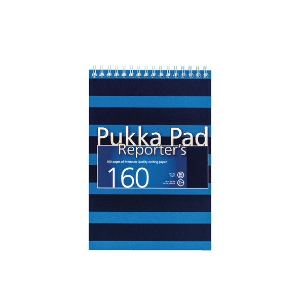 Pukka Navy and Blue 205 x 140mm Wirebound Reporter's Notebook (3 Pack) 6689-NVY