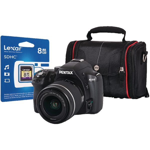 Pentax K-50 Digital SLR Camera Black Kit with 18-55mm Lens/SD Card/Case (Pack of 1) PEN401