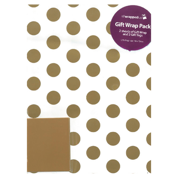 Gift Wrap Gold Spots (12 Pack) F747