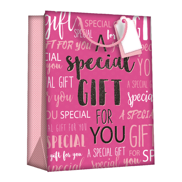 Gift Bags Wordy Pink Medium (6 Pack) Z723M