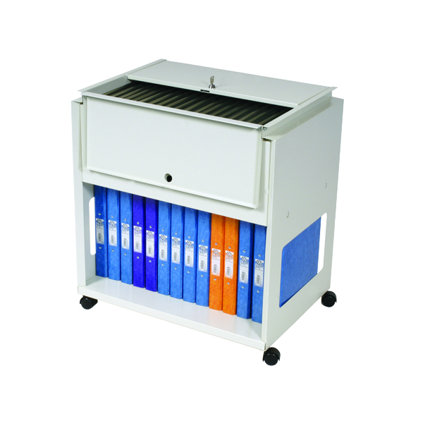 Rotadex Standard Universal Filing Trolley With Locking Lid Grey RT501S