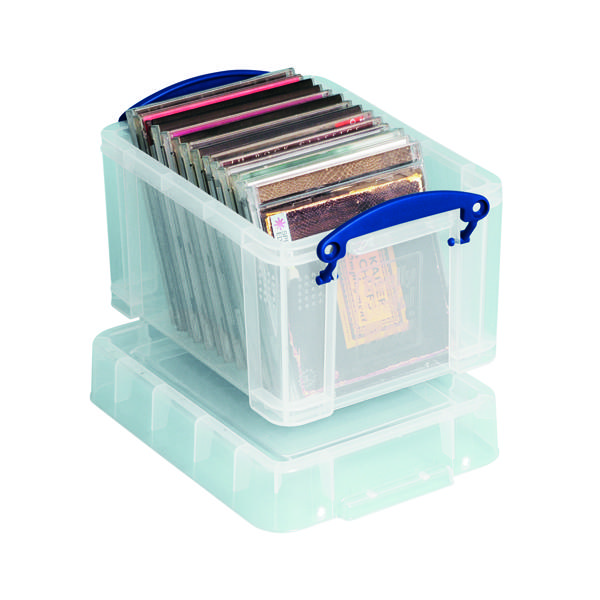 Really Useful Clear 3L Plastic Storage Box 245x180x160mm CD/DVDs 3C