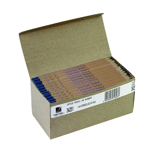 Rexel Office HB Pencils Natural Wood (144 Pack) 34251