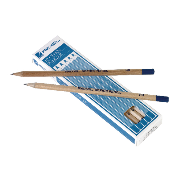 Rexel Office HB Pencils Natural Wood (12 Pack) 34253