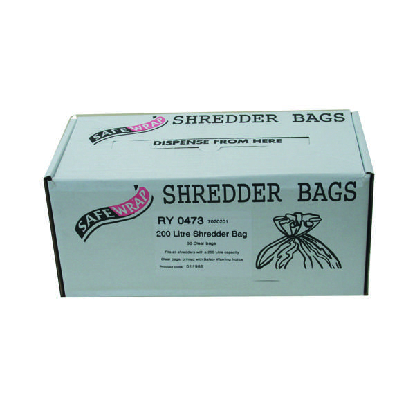 Safewrap 200 Litre Shredder Bags (50 Pack) RY0473