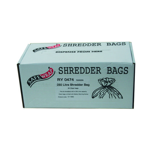Safewrap 250 Litre Shredder Bags (50 Pack) RY0474