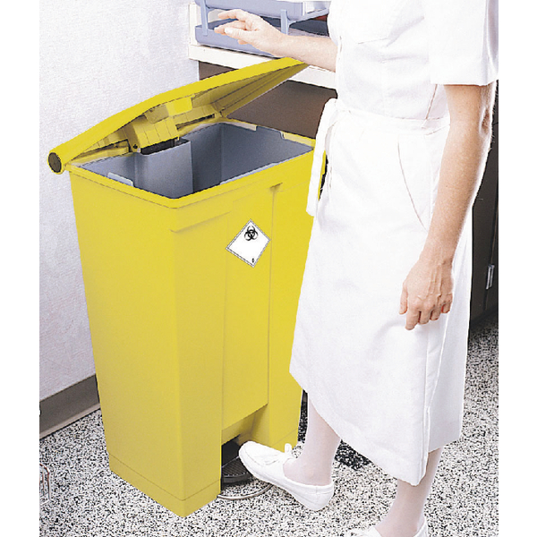 Step-On Bin 68L 500X410X675mm Yellow 313502
