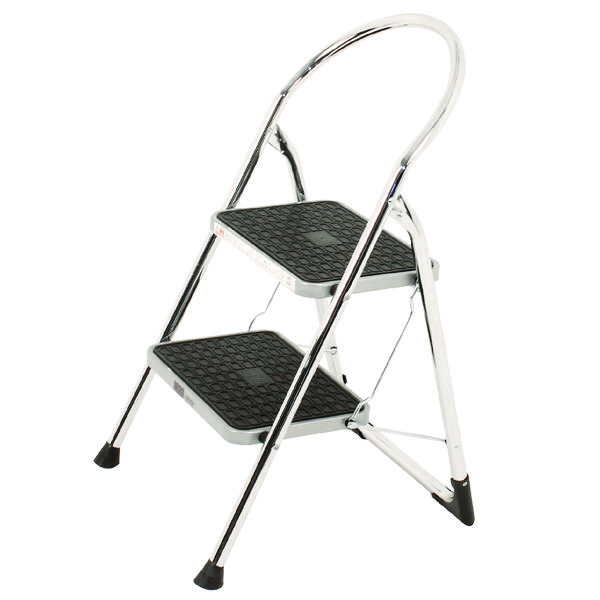 Chrome High Back Folding 2 Tread Step Stool 321677