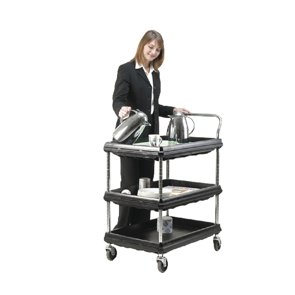 Deep Ledge Trolley 3 Tier Black H1041 x W832 x D546mm 322444