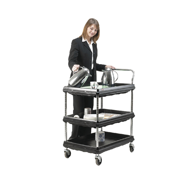Deep Ledge Trolley 3 Tier Black H1041x W984 x D689mm 322450
