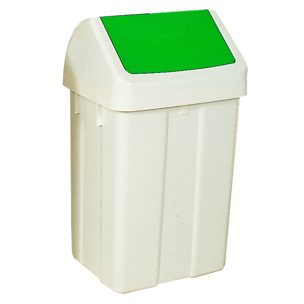 Plastic Swing Top Bin 50 Litre White With Green Lid 330351