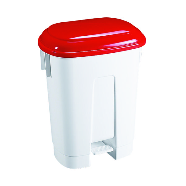 Derby 60 Litre White/Red Plastic Pedal Bin 348012